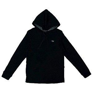 Camisa Quiksilver Manga Longa Scallop Label Preto Com Capuz