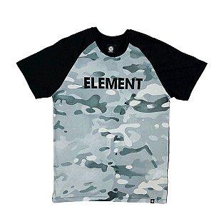 Camiseta Element Snow Camo Raglan Preta Masculina