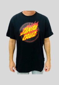 Camiseta Santa Cruz Flaming Dot Front Preta Masculina