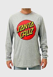 Camiseta Santa Cruz Manga Longa Classic Dot Cinza Mescla Masculina