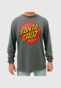 Camiseta Santa Cruz Manga Longa Classic Dot Chumbo Mescla Masculina