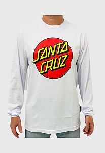 Camiseta Santa Cruz Manga Longa Classic Dot Branca Masculina