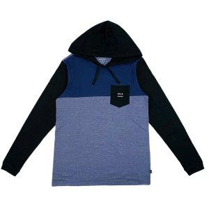 Camisa Quiksilver Manga Longa Cut Hoddie Azul Marinho Masculina