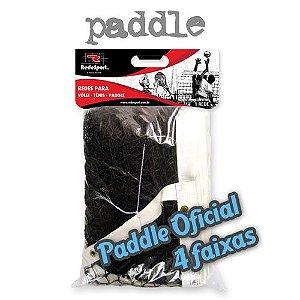 Rede de Paddle Quadra PRO Saque Duplo Lona em COURO - 4 Faixas (un)
