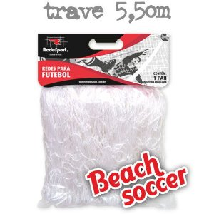 Rede para Gol Trave Beach Soccer / Futebol de Areia 5,50m Cristal - Tipo Véu (par)