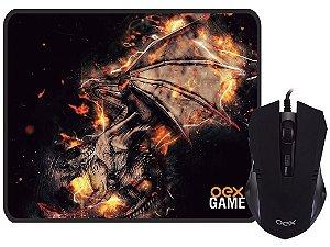 MOUSE USB GAMER 2400 DPi PRETO COM MOUSE PAD ARENA OEX MC102