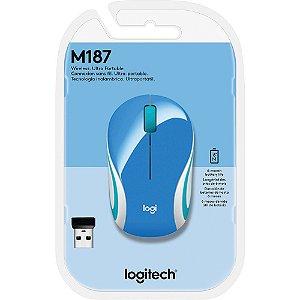MOUSE USB SEM FIO 1000 DPi M187 AZUL LOGITECH