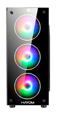 GABINETE GAMER COM LED RGB PRETO SEM FONTE HAYOM GB1709