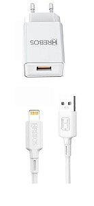CARREGADOR APPLE 1 USB 2.4A+CABO HREBOS HS-157