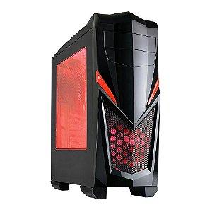 Gabinete Gamer New Shark – Preto LED Vermelho