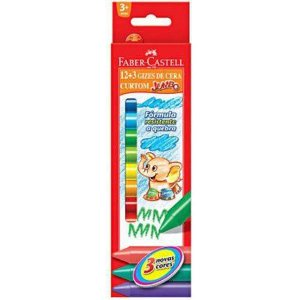 Giz de Cera Curto 15 Cores Faber Castell