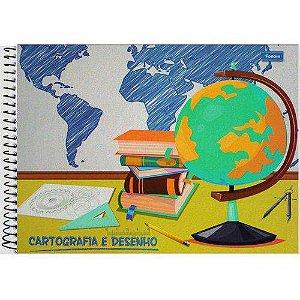 Caderno Cartografia Milimetrado Espiral 96 Folhas Capa Dura Foroni