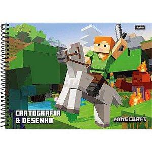 Caderno De Cartografia Capa Dura 96 Folhas Foroni Minecraft