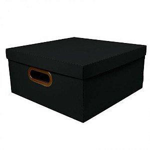 Caixa Organizadora Grande Linho Quadrada - Preta - 2206.p - Dello