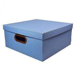 Caixa Organizadora Grande Linho Quadrada - Azul Pastel - 2206.b - Dello