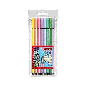 Caneta Stabilo Pen 68 estojo com 08 cores pastel