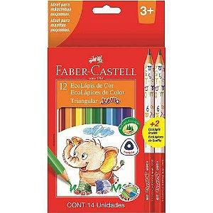 Lapis De Cor Jumbao Ecolapis Longo 12Cores+2Graf Faber-Castell