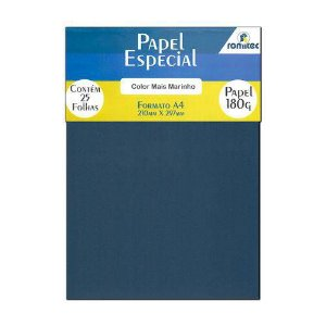 Papel Color Plus Azul Marinho A4 210x297mm 180g Romitec 25fls