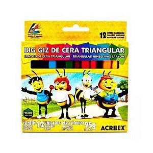GIZ DE CERA 12 CORES BIG TRIANGULAR (ACRILEX)
