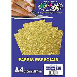 PAPEL A4 GLITTER OURO 180G (UNITARIO)(OFF PAPER)10454