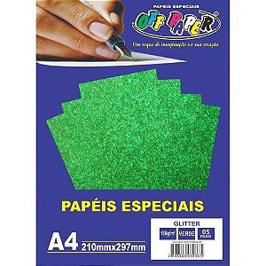 PAPEL A4 GLITTER VERDE 180G (UNITARIO)(OFF PAPER)10453