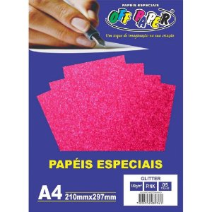 PAPEL A4 GLITTER PINK A4 180G (UNITARIO)(OFF PAPER)
