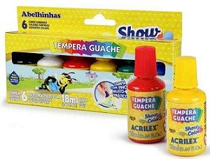 TINTA GUACHE 06 CORES C/ PINCEL ACRILEX