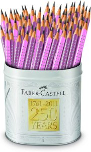 LAPIS GRAFITE GRIP LILAS/ROSA LATA FABER CASTELL