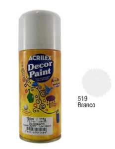 TINTA SPRAY BRANCO DECOR PAINT 150ML ACRILEX 519
