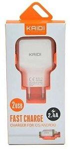 CARREGADOR APPLE FONTE 2 USB 2.4A+CABO KAIDI KD-605