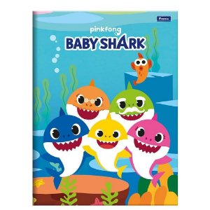 CADERNO BROCHURA CD 1/4 48F BABY SHARK (FORONI)