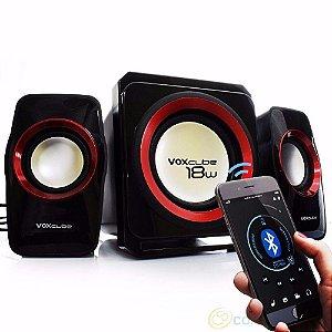 CAIXA SOM SUBWOOFER 18W 2.1 USB/FM/SD/BLUETOOTH  VOXCUBE PRATA VC-G500BT