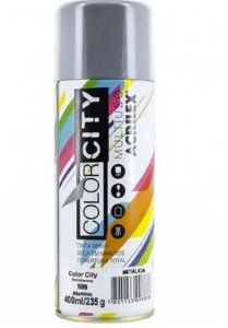 TINTA SPRAY PRATA 400ML   COLOR CITY    ACRILEX   599