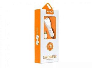 CARREGADOR VEICULAR (2 USB + CABO APPLE)(KAIDI)(KD-603)
