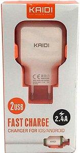 CARREGADOR V8 FONTE 2 USB 2.4A+CABO KAIDI