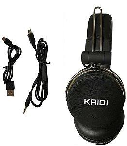 FONE BLUETOOTH/SD/FM KD801 KAIDI PRETO-AMARELO