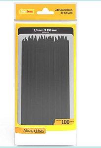 ABRACADEIRA PLASTICA (2,5MMX15CM)(PC.100UN)(PRETO)(ENE)(A25-E150P