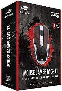 MOUSE USB GAMER  2400 DPI PRETO/PRATA 6 BOTAO C3TECH MG-11BSI