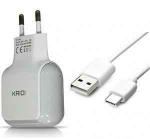 CARREGADOR TIPO C 2 USB 2.4A+CABO KAIDI