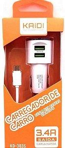 CARREGADOR VEICULAR 2 USB + CABO V8 KAIDI