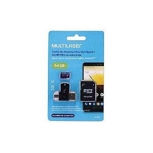 CARTAO DE MEMORIA  64 GB CL.10 MICRO SD+USB+OTG  MC152  MULTILASER
