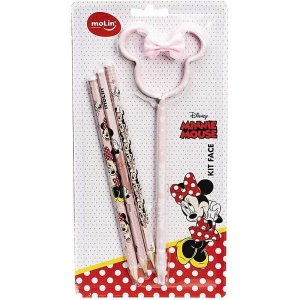 KIT LAPIS E CANETA MINNIE 4UN 1CAN 3 LAPIS MOLIN 22.327