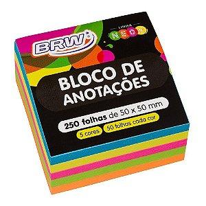 BLOCO ADESIVO 5 CORES NEON 50X50 250F BRW BA5050