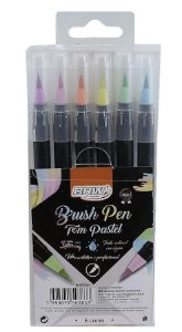 ESTOJO CANETA BRUSH 06 CORES PASTEIS BRW BP0004