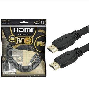 CABO HDMI MACHO X MACHO 3M 2.0 4K PIX FLAT 018-5023