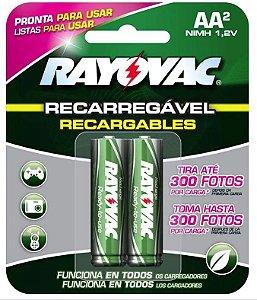 PILHA RECARREGAVEL AA 2UN 1350MAH RAYOVAC 55802