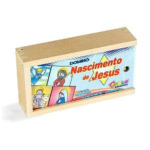 BRINQUEDO PEDAGOGICO DOMINO NASCIMENTO DE JESUS 28 PECAS MDF CARLU