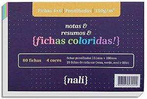 FICHA PONTILHADA N2 4X6 151X100 COLORIDA PC.80F NALI