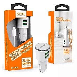 CARREGADOR VEICULAR 2 USB + CABO APPLE KAIDI KD-303A