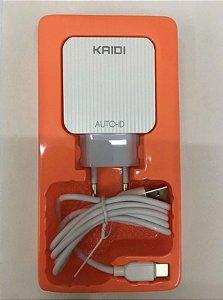 CARREGADOR TIPO C 3 USB 3.1A+CABO KAIDI KD-606C